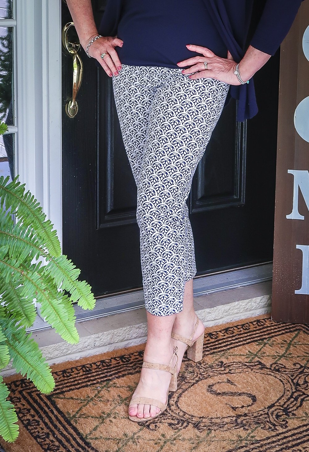 Fashion Blogger 50 Is Not Old is wearing blue and white ankle pants