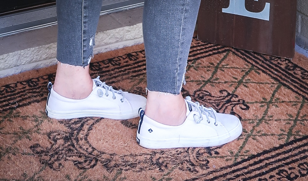 Fashion Blogger 50 Is Not Old is wearing a pair of Sperry Crest Vibe sneakers