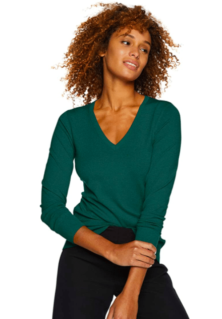 Green v-neck sweater From Amazon