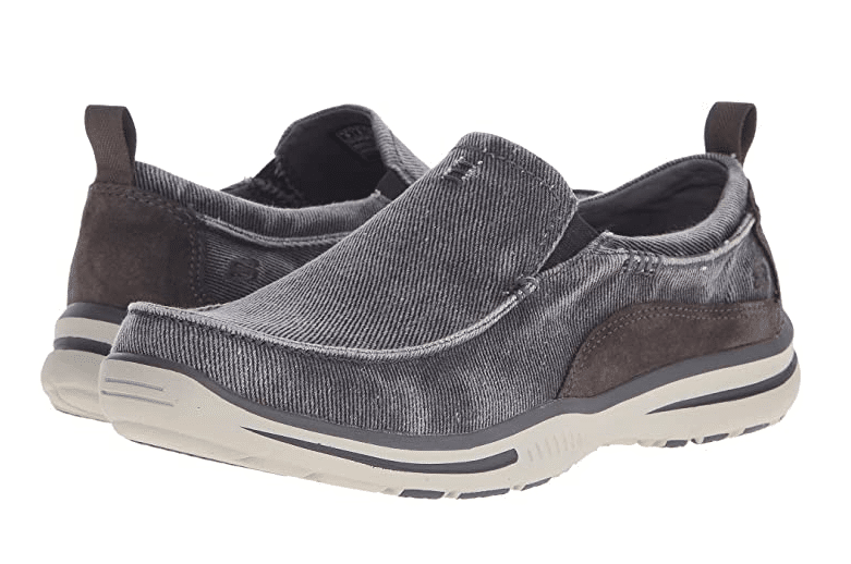 Charcoal colored Skecher's men's shoes