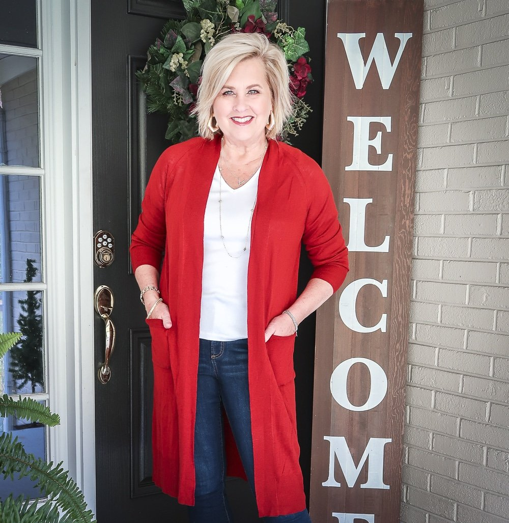 Fashion Blogger 50 Is Not Old is doing a Tuesday Try-On Session with Target and styling a red duster and a white v-neck tee shirt