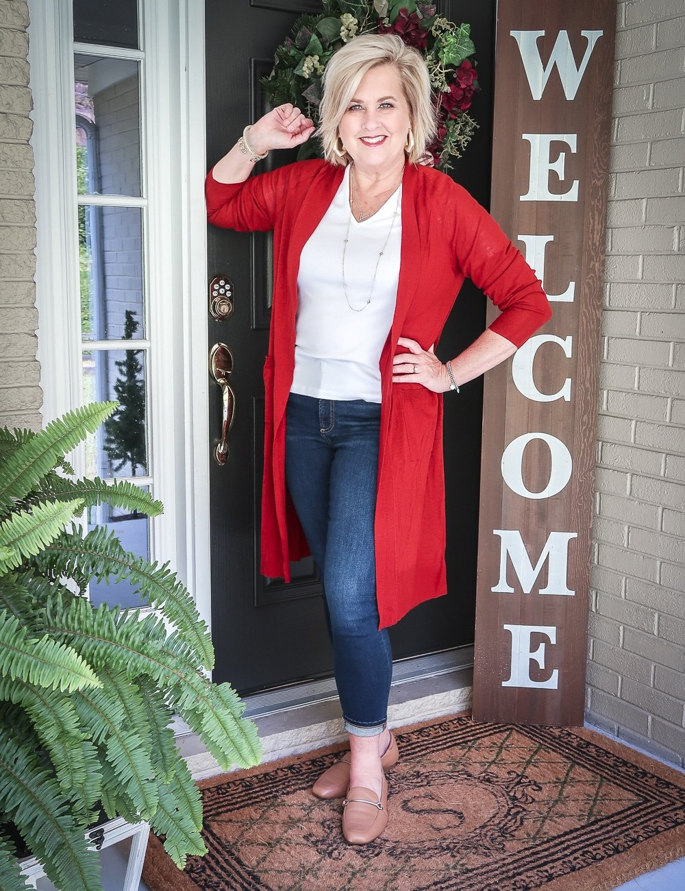 Fashion Blogger 50 Is Not Old is doing a Tuesday Try-On Session with Target and styling a red duster with a white v-neck tee shirt