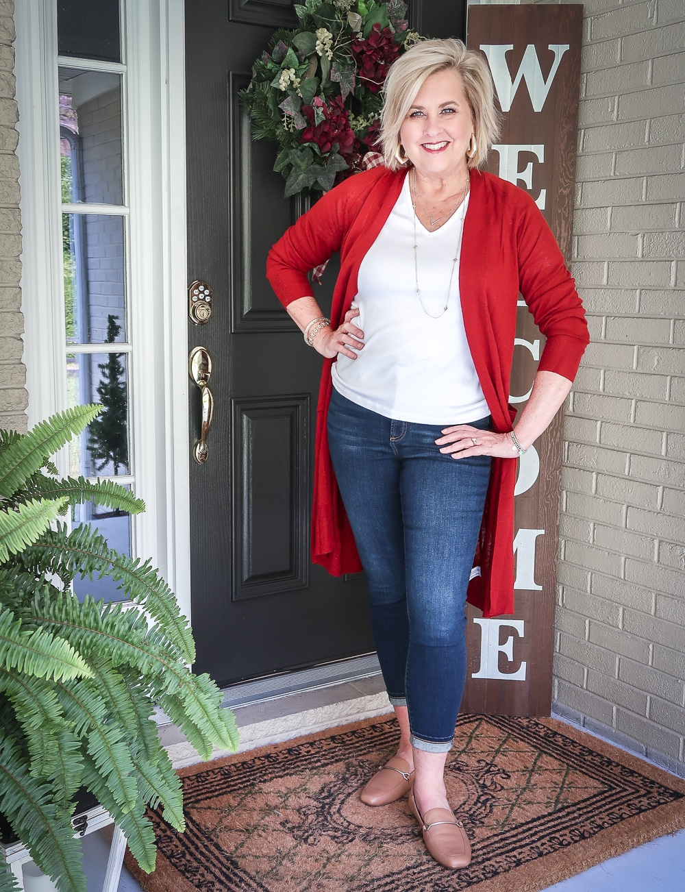 Fashion Blogger 50 Is Not Old is doing a Tuesday Try-On Session with Target and styling a red duster, a white v-neck tee shirt, and ankle jeans from Chicos