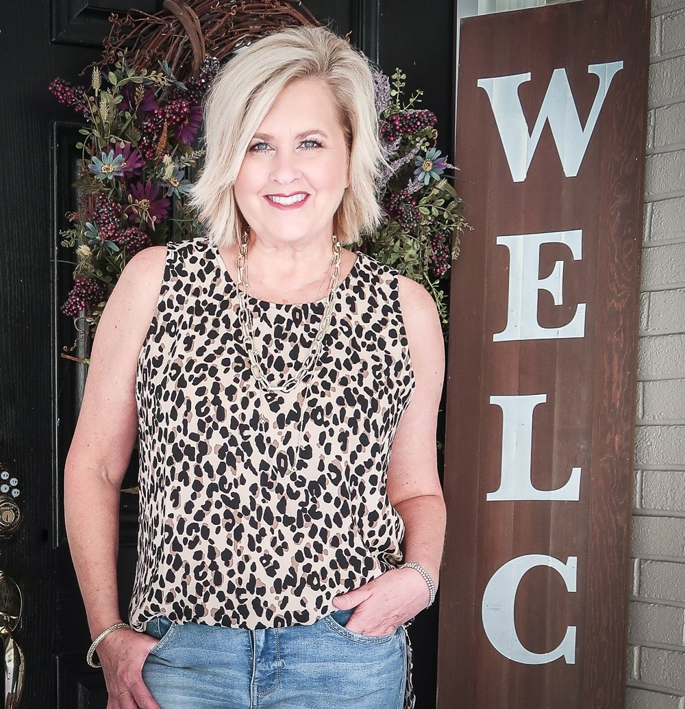 Fashion Blogger 50 Is Not Old is wearing a leopard print statement top