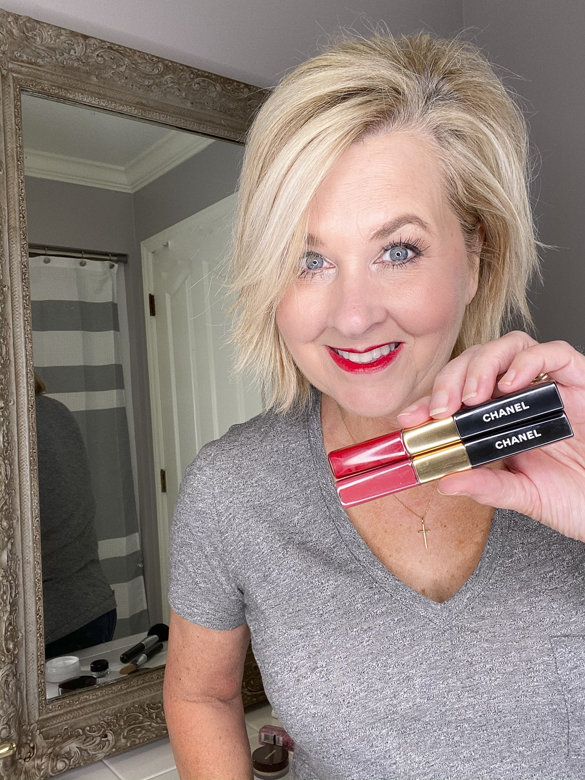 Fashion Blogger 50 Is Not Old wearing Chanel Lip Colour from Nordstrom