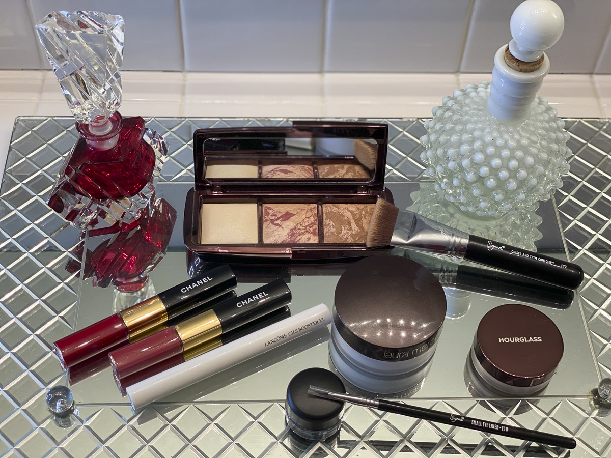 Fashion Blogger 50 Is Not Old showing her latest makeup purchases from Nordstrom