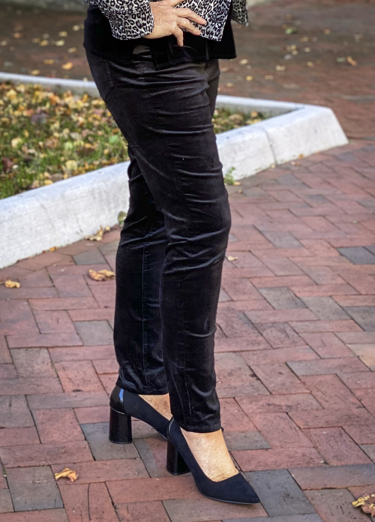 Fashion Blogger 50 Is Not Old is wearing black velvet jeggings from Chico's