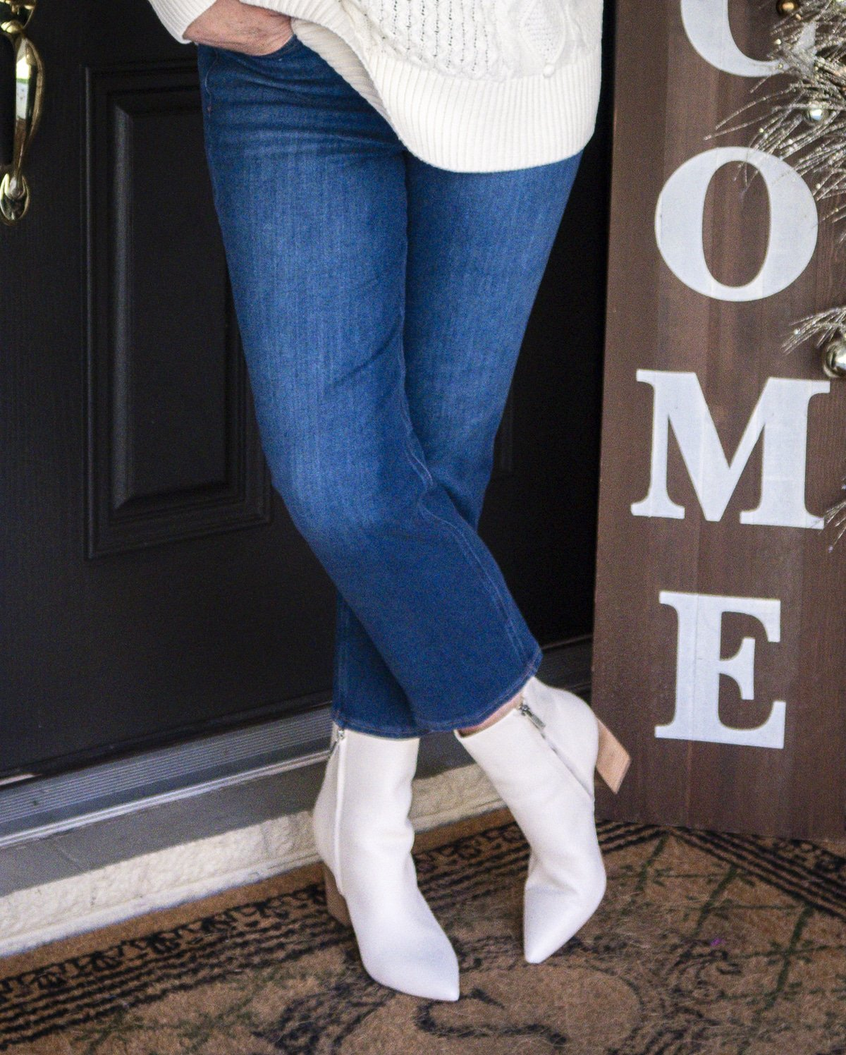 Fashion Blogger 50 Is Not Old is wearing crop jeans and white pointy toe ankle boots