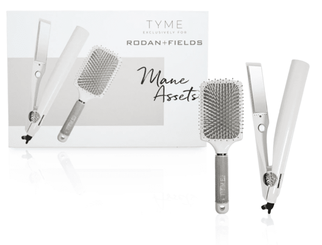 Fashion Blogger 50 Is Not Old is showing a TYME and RF haircare kit