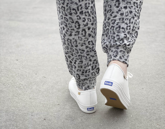 Fashion Blogger 50 Is Not Old is wearing Ked's platform sneakers