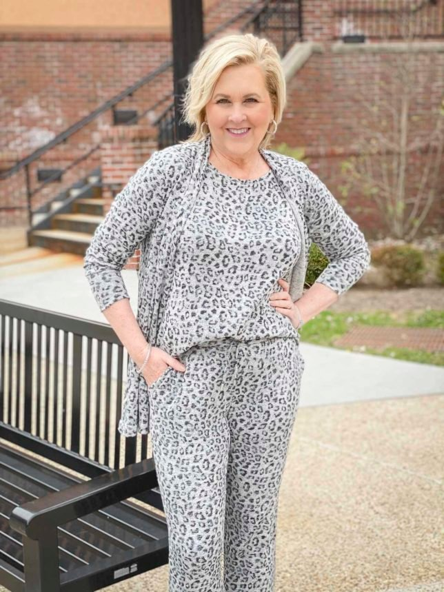 Fashion Blogger 50 Is Not Old is wearing animal print luxe loungewear from Chico's