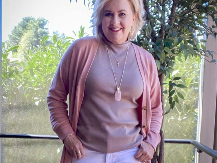 Fashion Blogger 50 Is Not Old is wearing a rose duster and a taupe shell
