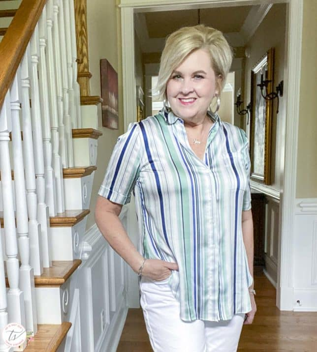 Fashion Blogger 50 Is Not Old is wearing a silky striped top