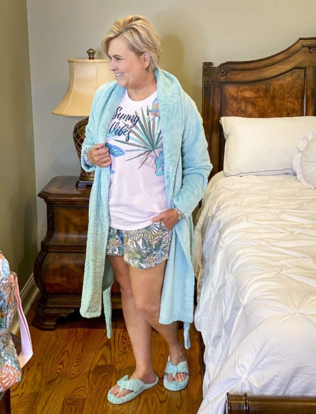 Fashion Blogger 50 Is Not Old is wearing her pajamas, robe, and slippers from Vera Bradley