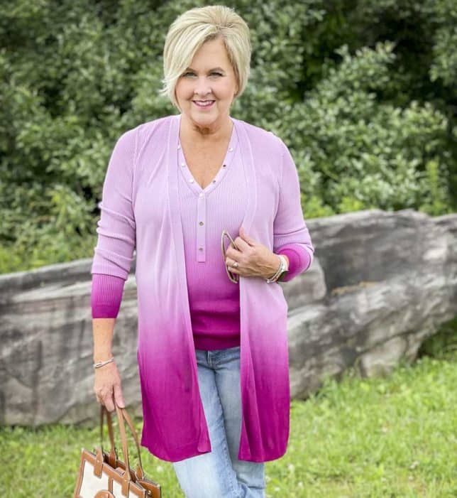 Fashion Blogger 50 Is Not Old is looking colorful in a pink ombre tank and coverup