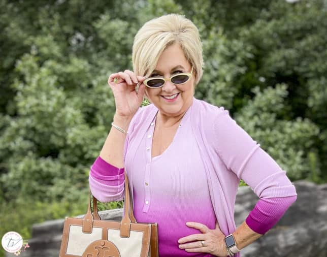 Fashion Blogger 50 Is Not Old is looking colorful in a pink ombre tank and matching coverup and vintage sunglasses