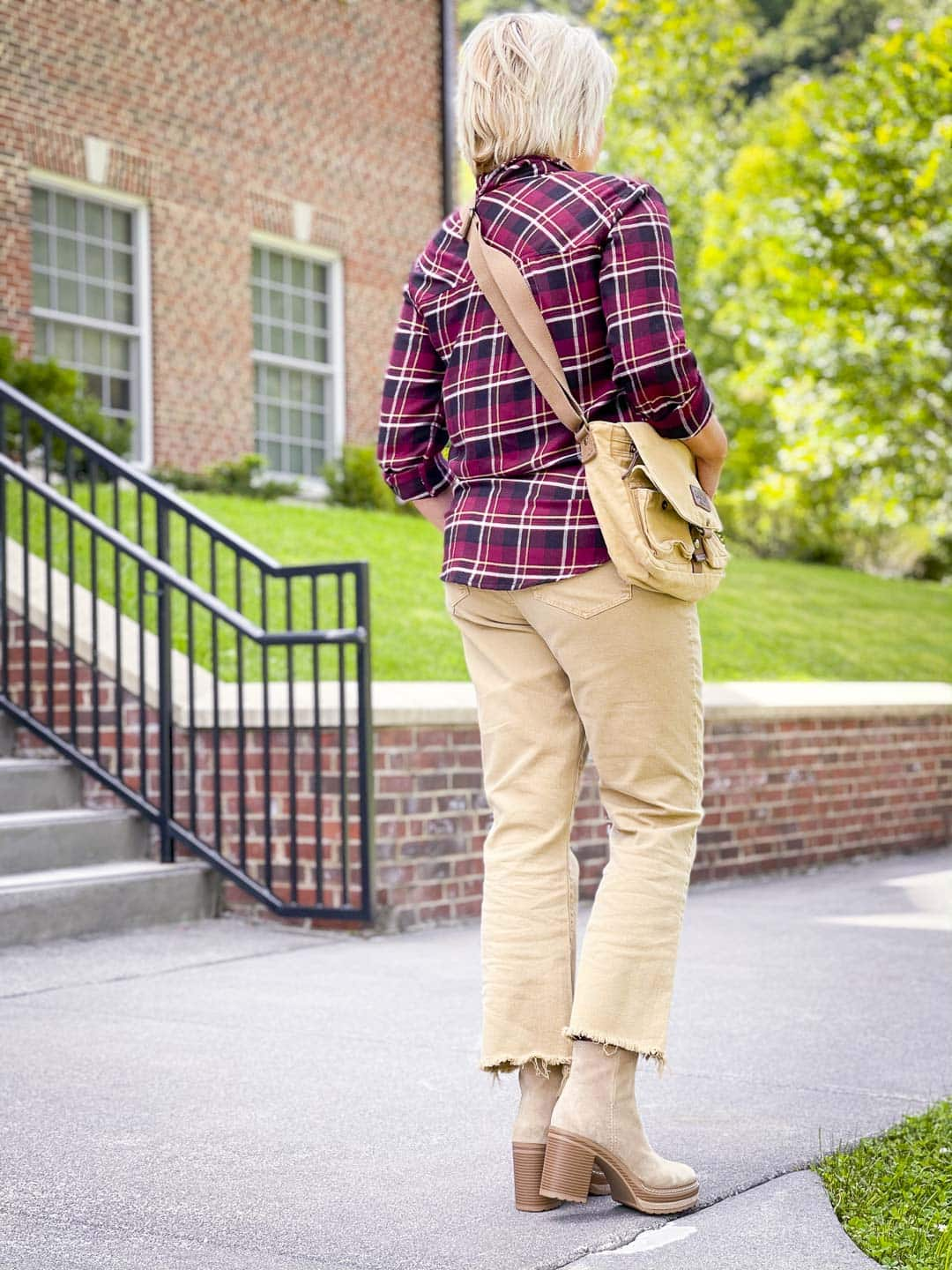 Over 40 Fashion Blogger, Tania Stephens is showing the back of a plaid flannel shirt with crop jeans to show how to get the most out of your wardrobe