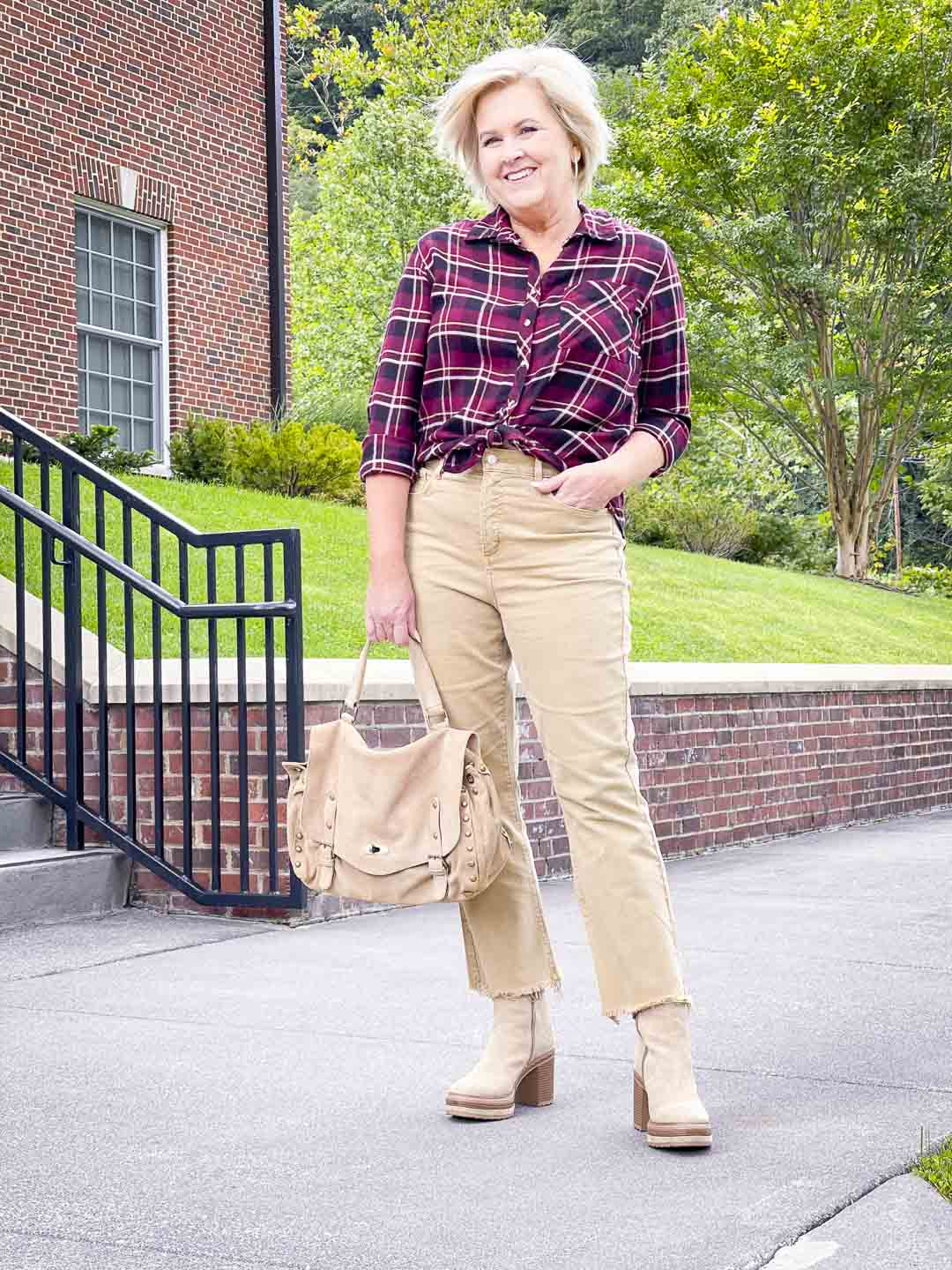 Over 40 Fashion Blogger, Tania Stephens is wearing a wine plaid flannel shirt with crop jeans to show how to get the most out of your wardrobe
