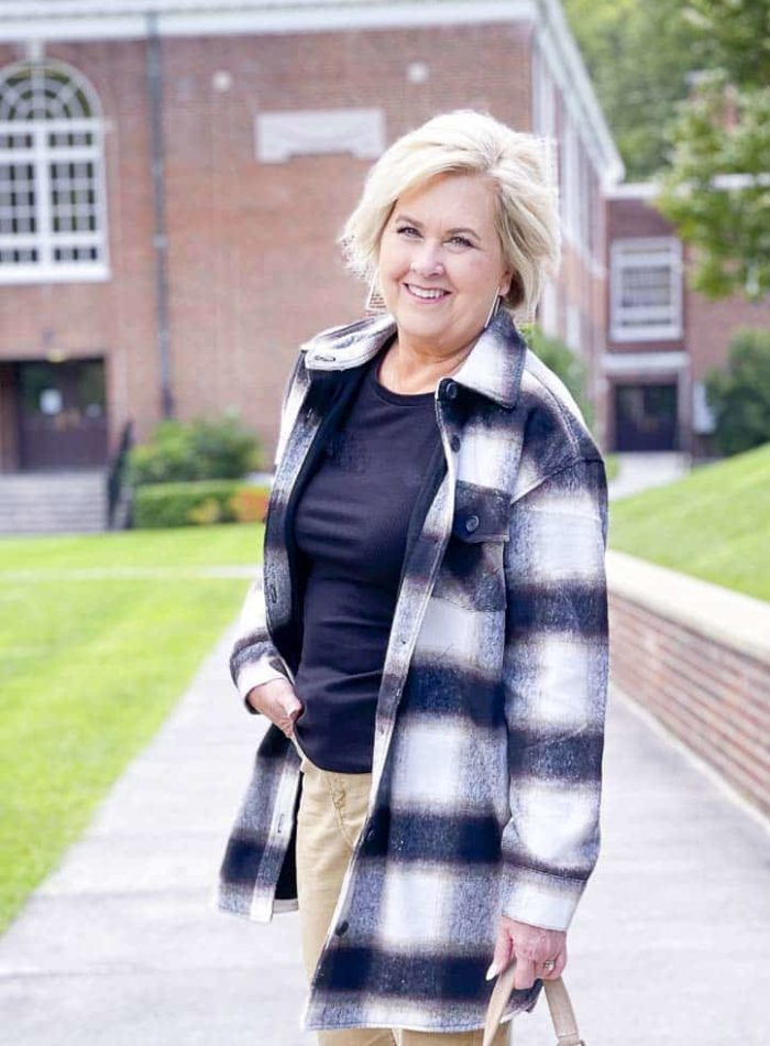 Over 40 Fashion Blogger, Tania Stephens is showing you a plaid shacket and how to wear it after 40