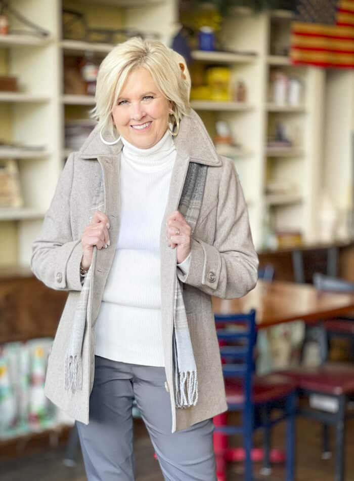 Over 40 Fashion Blogger, Tania Stephens, is ready for coat wearing season in a taupe coat from Appleseed's