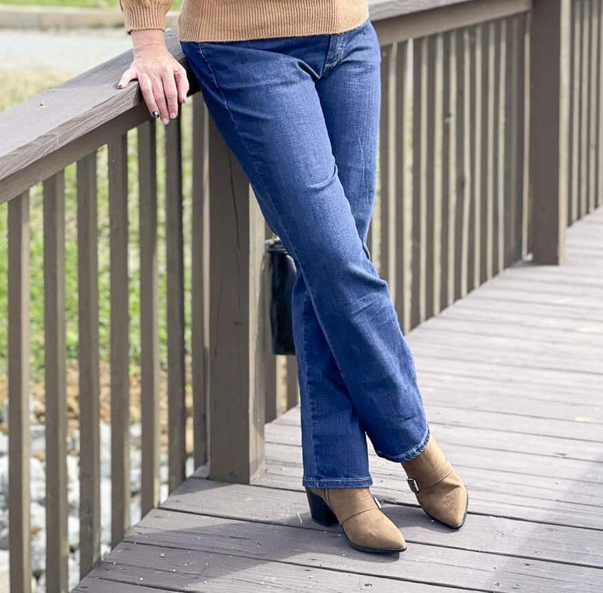 Over 40 Fashion Blogger, Tania Stephens, is showing her recent Walmart haul including these bootcut jeans and buckled ankle boots
