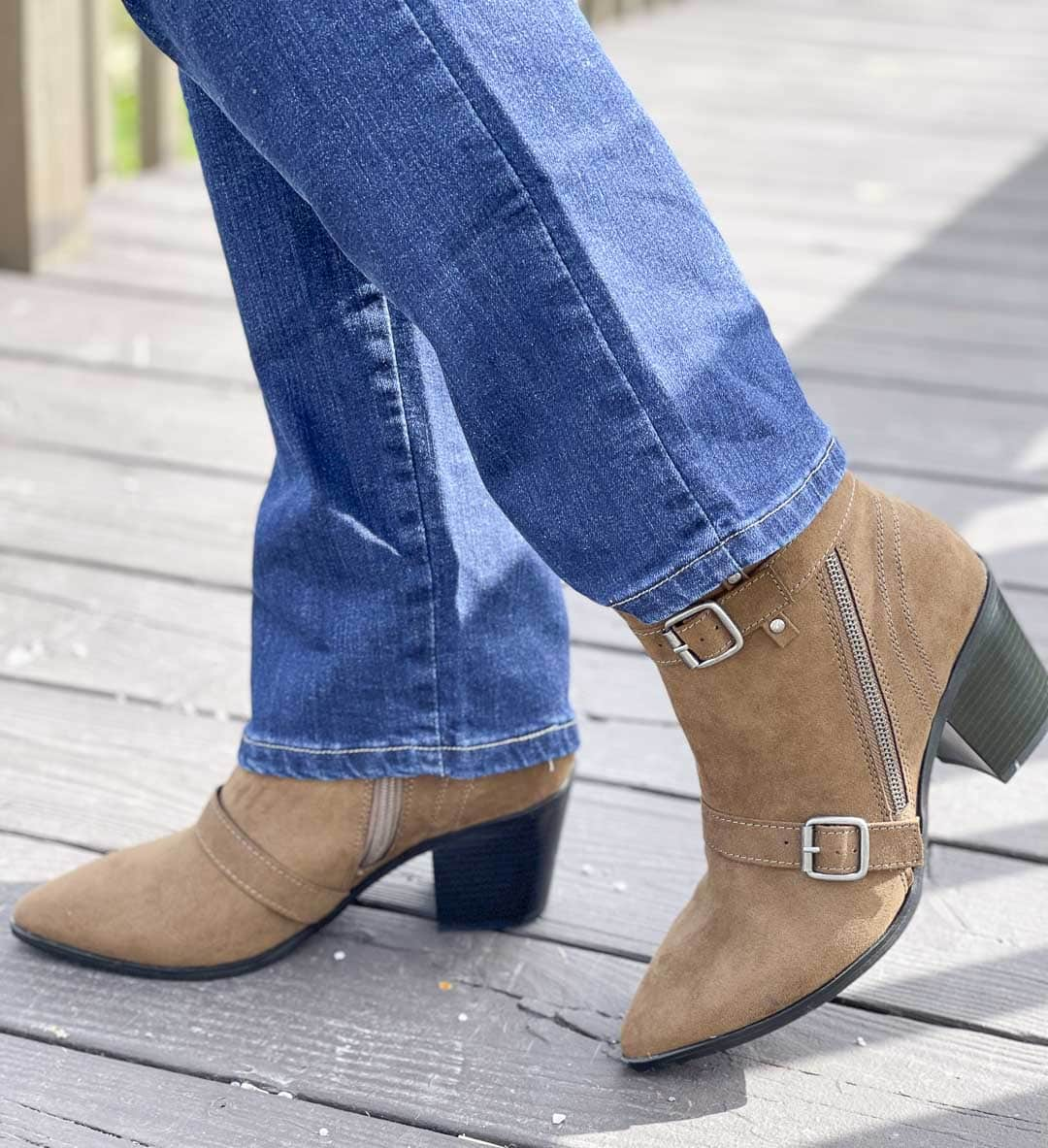 Over 40 Fashion Blogger, Tania Stephens, is showing her recent Walmart haul including these buckled faux suede ankle boots