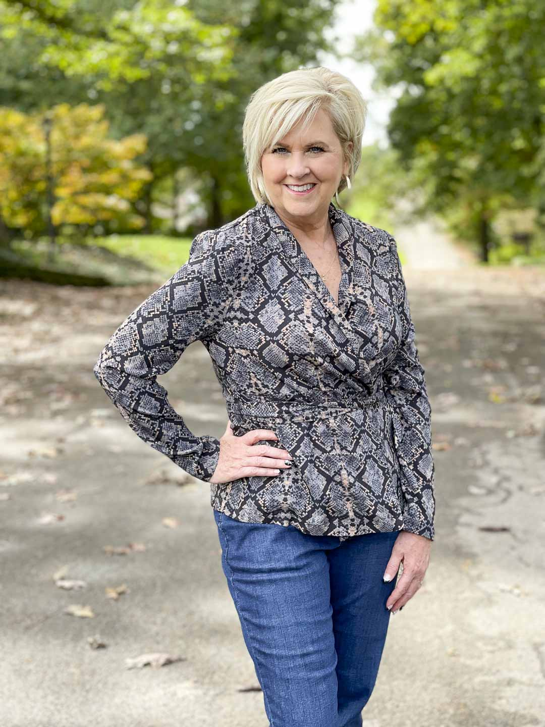 Over 40 Fashion Blogger, Tania Stephens, is showing her recent Walmart haul including this snake print wrap top
