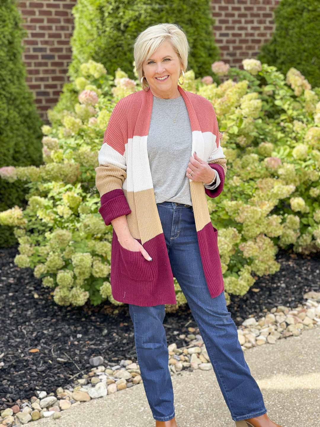 Over 40 Fashion Blogger, Tania Stephens, is showing her recent Walmart haul including this color blocked cardigan and gray tee