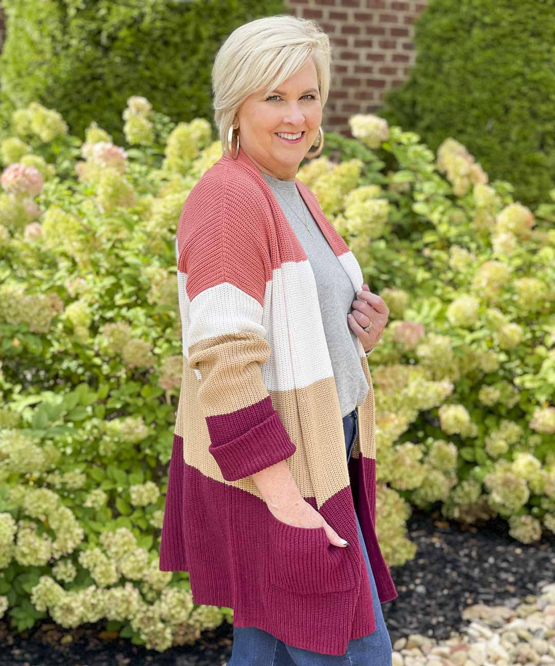 Over 40 Fashion Blogger, Tania Stephens, is showing her recent Walmart haul including this color blocked cardigan